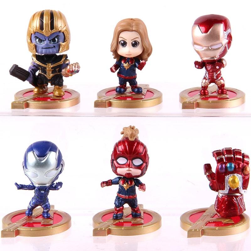 Hot Toys Cosbaby Avengers Infinity Gauntlet Thanos Captain Marvel Iron Man PVC Action Figures Toys 6pcs/set 1