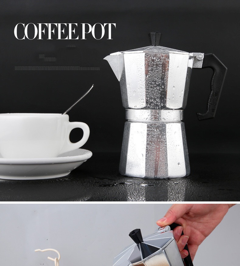 Coffee Maker Aluminum Mocha Espresso Percolator Pot Coffee Maker Moka Pot 1cup/2cup/3cup/6cup/9cup/12cup Stovetop Coffee Maker