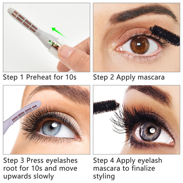 Electric Heated Eyelash Curler Perm Eyelash Curling Pen Heated Long Lasting Eye Lash Comb with Heat Indicator Eyes Makeup Tools 6