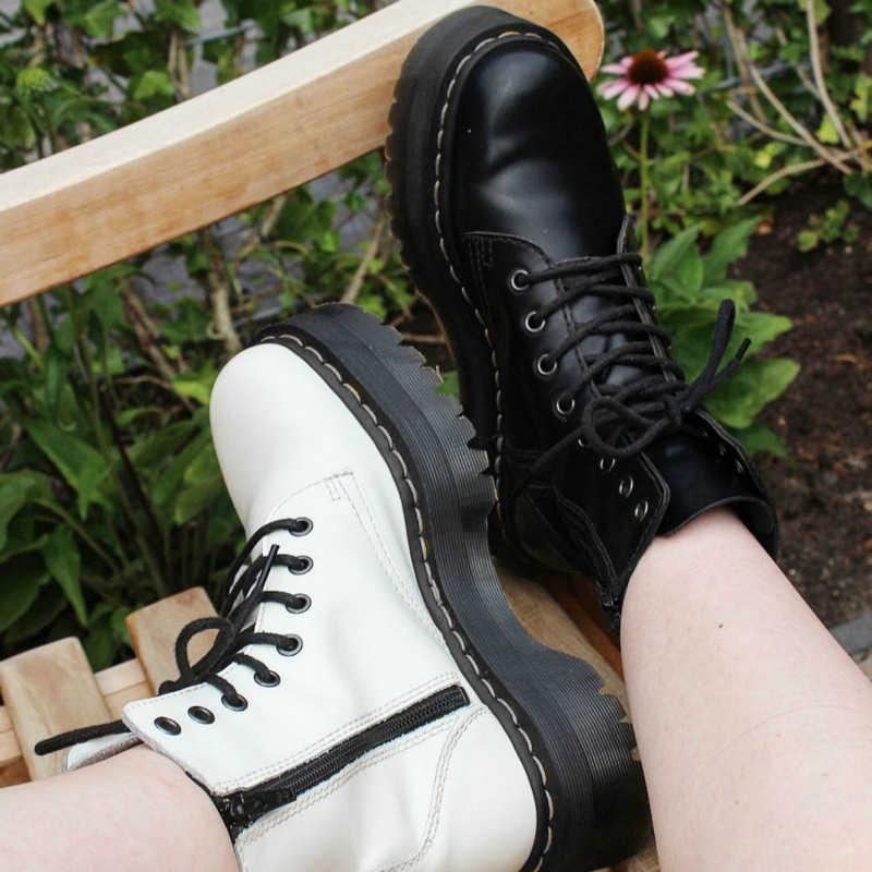 Brand Design Vrouwen Laarzen Winter Rits Enkellaars Lace Up Platform Schoenen Dikke Bodem Vrouw Motorlaarzen Vrouwelijke Botas Mujer
