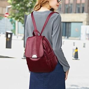 Image 3 - Mochila Feminina  Back Pack Soft Leather Women Backpack High Quality Bagpack School Bags for Teenage Girls 2019 Sac A Dos Femme