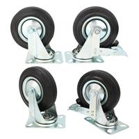 4pcs 5 Inch Caster Wheel Light Duty Black Rubber Caster Wheel Trolley Furniture Roller Castor