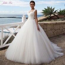 جوليا كوي مذهلة تول ألف خط فستان الزفاف مع حزام منتظم طول الأرض ثوب زفاف وشاح أنيق