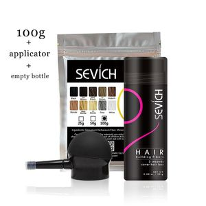 Image 1 - sevich 100g hair building fibers refill bag+ 25g empty bottle + applicator hair thickener fuller hair loss treatment 10 colours