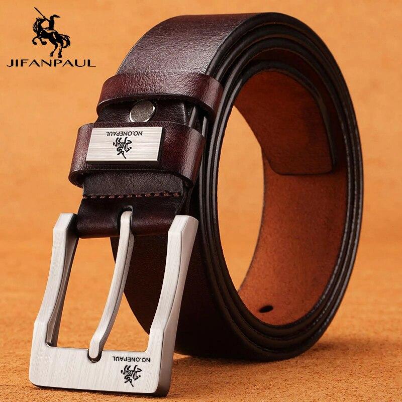 Jifanpaul couro genuíno para os homens de alta qualidade preto fivela jeans cinto cowskin casual cintos cinto de negócios cintura cowboy