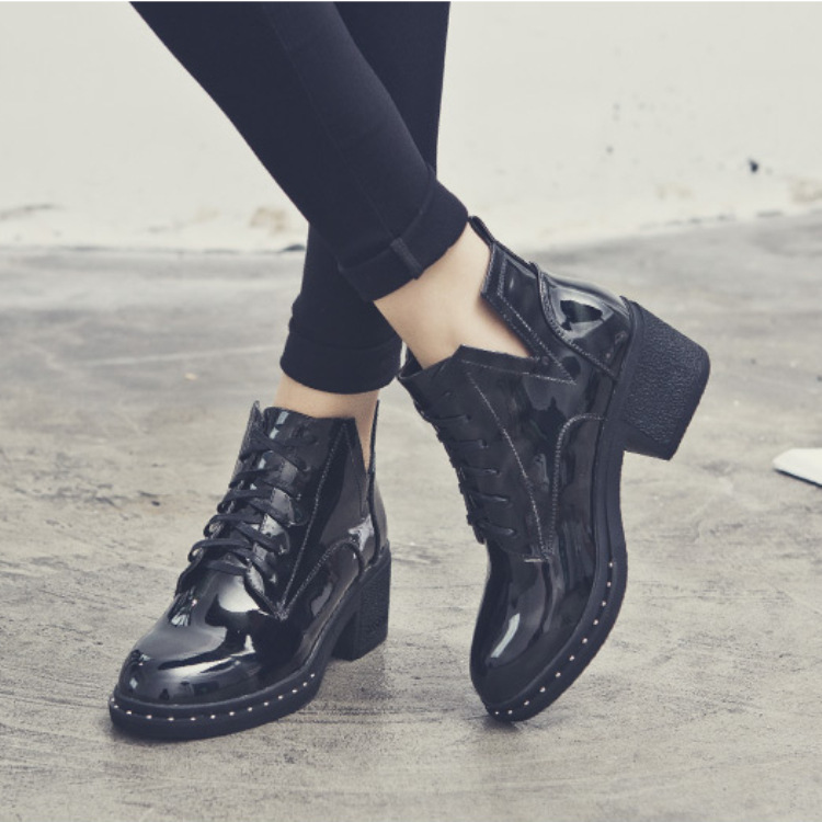 2018 Short Boots Women's Autumn And Winter New Style Korean-style Students Chunky-Heel Martin Boots Women's British Style High H