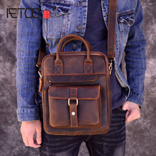 AETOO New Genuine Leather Men's Handbags Retro Crazy Horse Leather Men Tote Bag  Messenger Business Men Briefcase ipad bag new genuine leather men s handbags retro crazy horse leather men tote bag shoulder messenger business men briefcase laptop bags