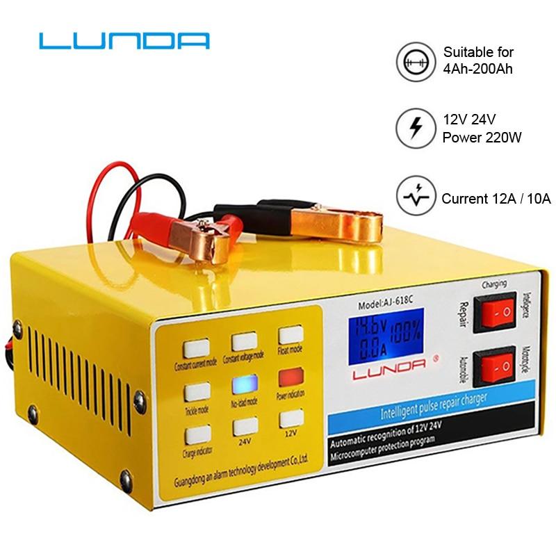 Caricabatterie 240W 12V 24V 6-400AH 20A Caricabatteria per auto completamente automatico Caricabatteria per auto per auto Accessori per auto,Eu