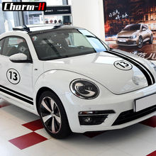 Car Styling Set Hood Roof Side Dual Stripes Body Vinyl Decal for Volkswagen Beetle 2011-Present Stickers Accessories matt color change vinyl film car wraps hood roof whole body stickers decal with air bubble car styling automobiles accessories