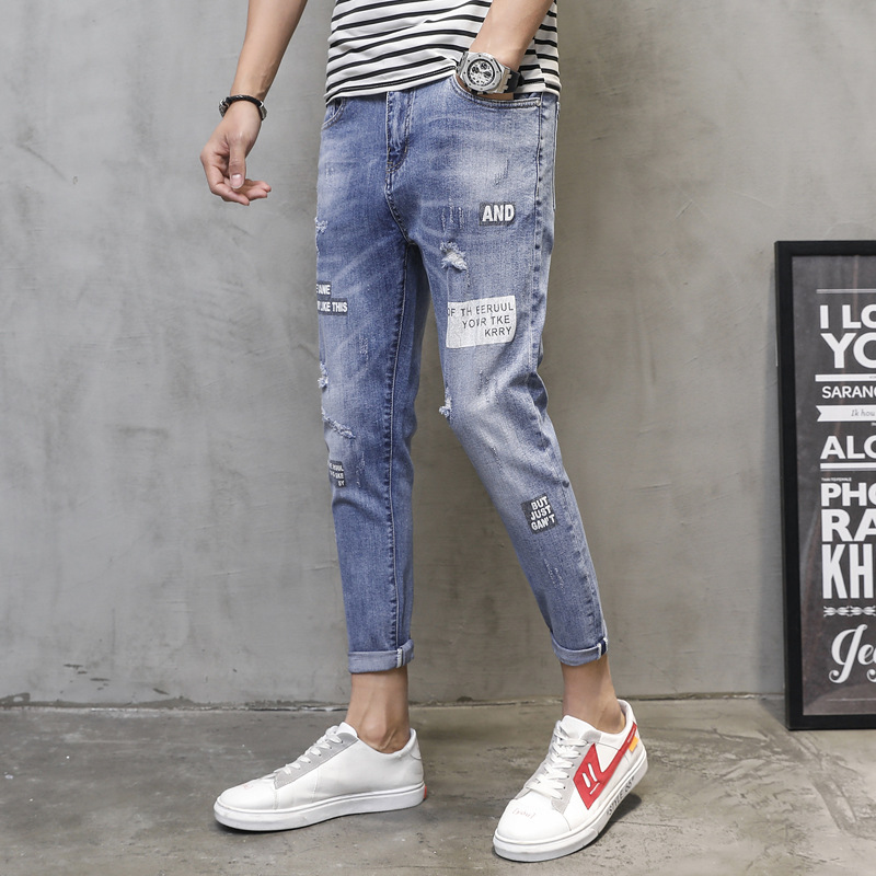 With Holes Printing Ninth Pants Men's Korean-style Trend Elasticity Slim Fit Jeans Printed Letter Retro Quality Jeans