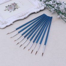 10Pcs Nylon Hair Artist Paint Brush Acrylic Watercolor Round Fine Hand Point Tip 32CB