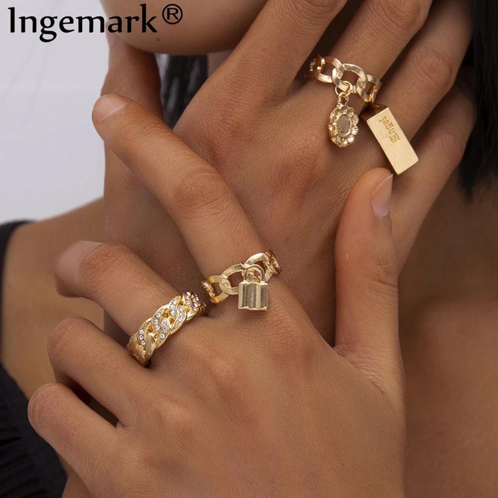 Boho tam kristal yaz alyanslar kadınlar Punk Vintage 2020 daire aşk kilit çiçek kolye moda yüzük Bijoux takı hediye