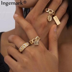 Boho Full Crystal Summer Wedding Rings Women Punk Vintage 2020 Circle Love Lock Flower Pendant Fashion Ring Bijoux Jewelry Gift