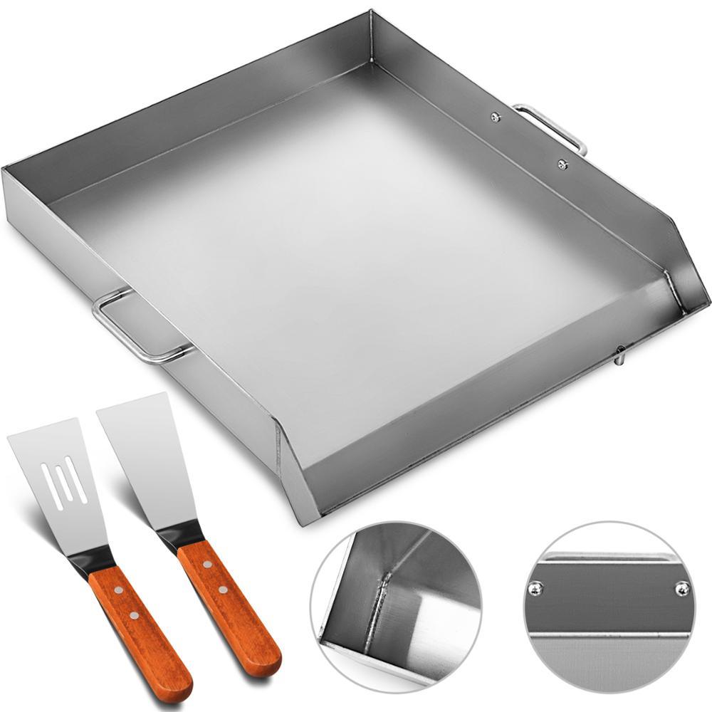 """Универсальная сковородка с плоским верхом 1"""" x 16"""" сковородка из нержавеющей стали Plancha Comal сковородка для барбекю с ручками для ресторана или домашнего использования"""
