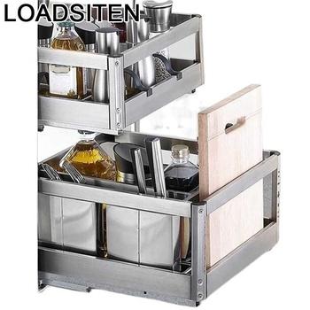 Cestas Accesorios organizator Para Cucina Armario De Cocina Despensa spiżarnia stojak ze stali nierdzewnej Cozinha szafki kuchenne kosz tanie i dobre opinie LOADSITEN CN (pochodzenie) Metal