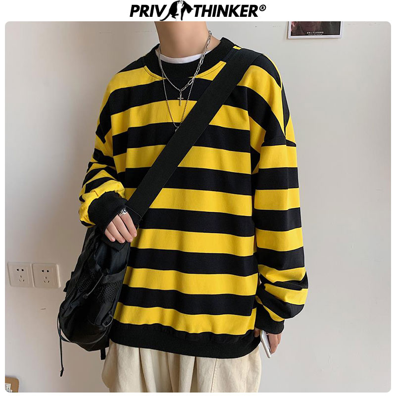 Privathinker Men Striped Autumn Fashion Sweatshirt 2019 Mens Casual Pullovers Long Sleeve Hoodies Male Oversize Loose Clothes