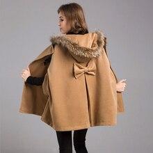 Новинка, женские зимние куртки и пальто, большие размеры, Женский Повседневный Свободный плащ, рукав «летучая мышь», шерсть, меховой воротник, пончо, плащ, пальто