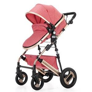 Коляска с высоким обзором, легкая складная, сверхлегкая, можно сидеть и лежать, переносная детская коляска, простой зонт, автомобильный детс...