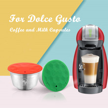 iCafilas Stainless Steel For Dolce Gusto Crema Coffee Filters Cup Reusable Refillable For Nescafe Dolci Gusto Coffee Capsule Pod