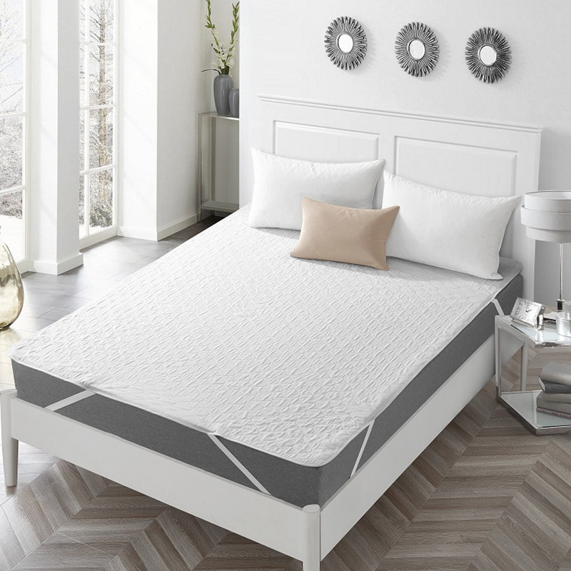 White Quilted Embossed Waterproof Mattress Cover Breathable Anti Mites Mattress Protector Fitted Bed Cover Soft Pad for Bed