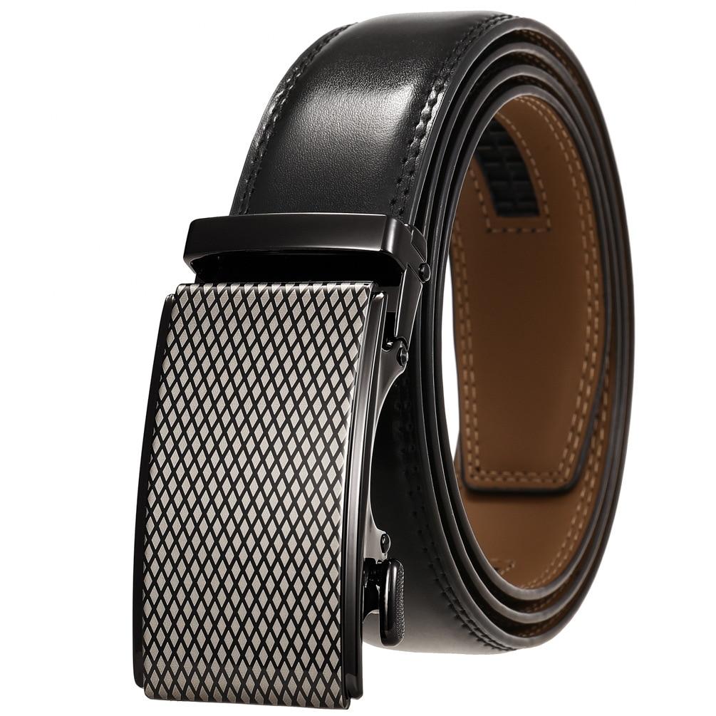 Adjustable Ratchet Men Belts Classic  Luxury Business Design Automatic Alloy Buckle Cow Leather Belt