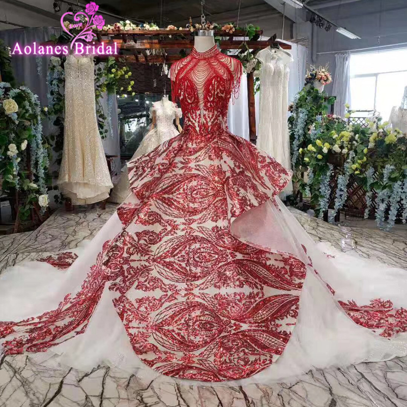 Princess High Neck Girl Dresses For Weddings Tassels Crystals Kids Evening Gowns Red Lace Bead Ball Gown First Communion Dresses