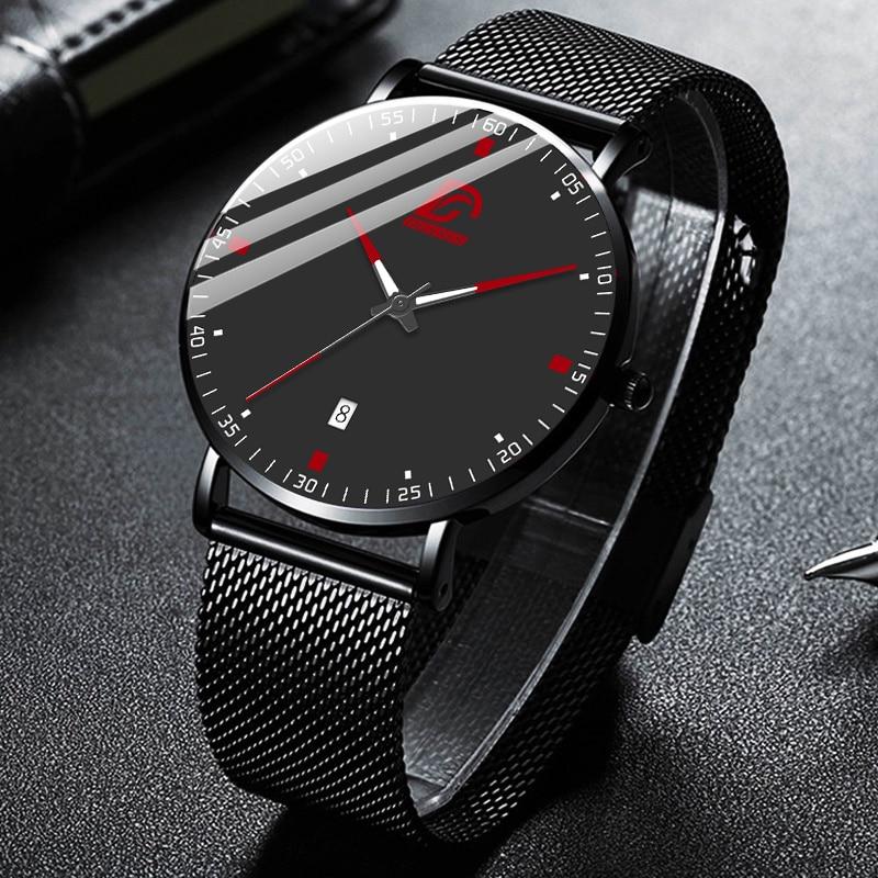 DIJANES Fashion Mens Business Minimalist Black Watches Luxury Ultra Thin Stainless Steel Mesh Belt Quartz Watch Reloj Hombre