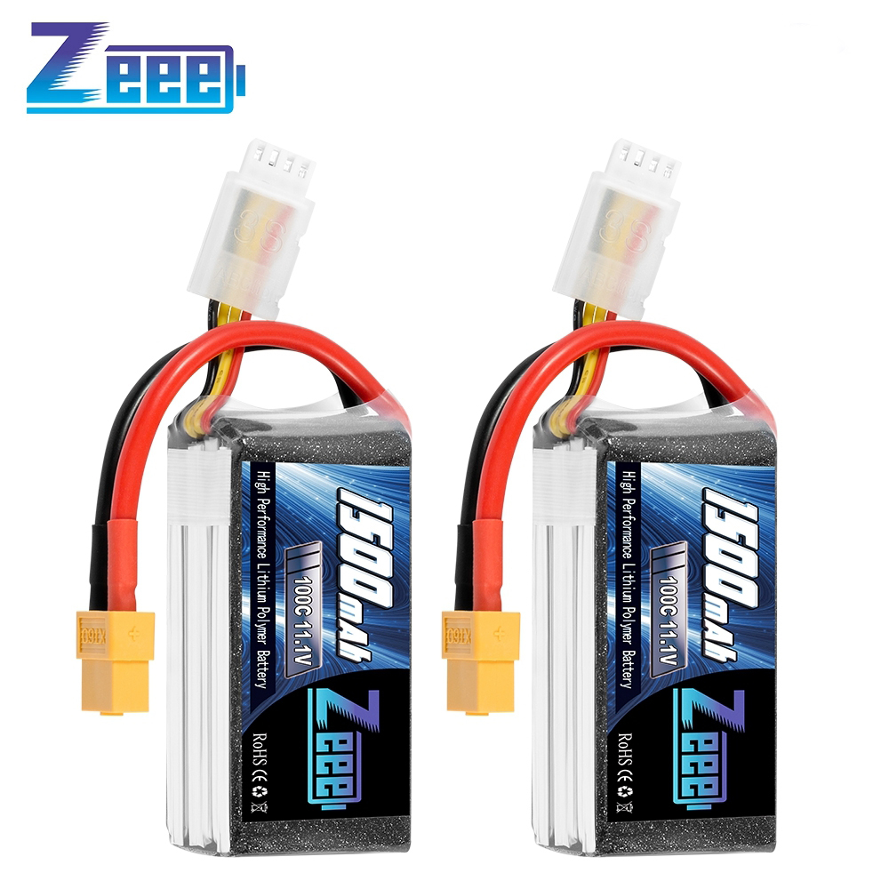 Zeee 2units 11.1V <font><b>1500mAh</b></font> 100C <font><b>3S</b></font> Lipo Battery with XT60 Plug Softcase RC Battery for RC Quad Drone RC Car Truck Airplane FPV image