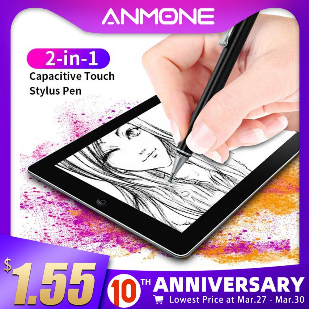 ANMONE 2 In 1 Stylus For Smartphone Tablet Capacitive Screen Pencil Write Draw Touch Pen For Ipad Suitable All Android Device