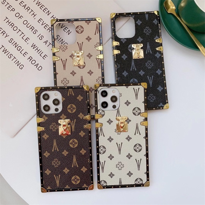 Fashion Square Metal Leather Phone Case For iPhone 11