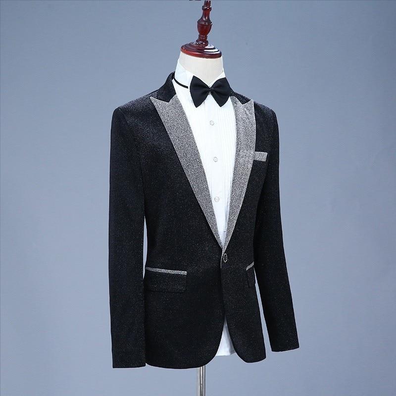 New Korean Slim Fit Lapel Blazer Mens Performance Jacket Fashion Stage Clothes Brand Male High Quality Suit Coat Single Button