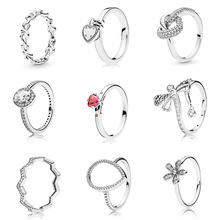 Silver Color Ring Charms  Red Cz Diy Flower Dragonfly Big Cz Heart Crystal Finger Ring For Women Party Jewelry