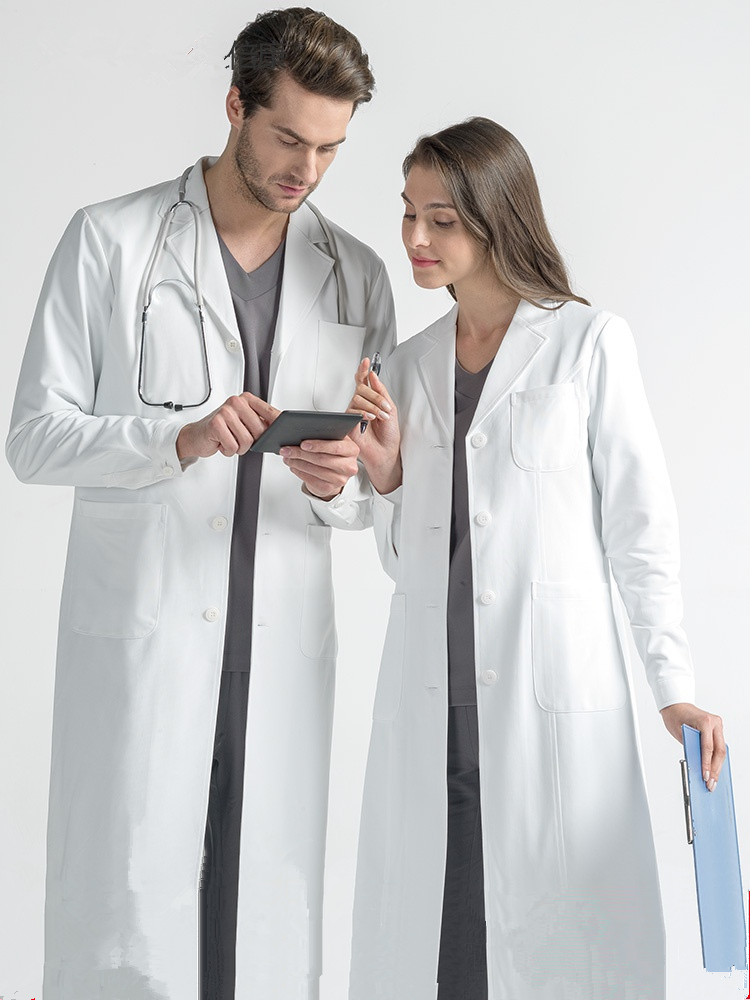 White Coat Long Sleeve Doctor's Uniform Men's And Women's Cosmetic Wear Oral Plastic Hospital Work Clothes Lab Coat White