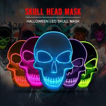 Máscara Led de fiesta de Halloween máscara de Mascarada máscaras de neón Maske luz brillo en la oscuridad Festival Cosplay Maska brillante Masker purga
