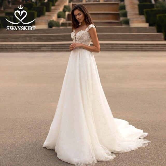 Swanskirt moda kristal düğün elbisesi 2020 yeni sevgiliye aplikler A Line İllüzyon prenses gelin kıyafeti Vestido de novia GI51