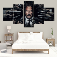 5 Pieces John Wick Poster Painting Wall Art Frame Canvas Pictures Modern HD Printed For Living Room Home Decor Artwork