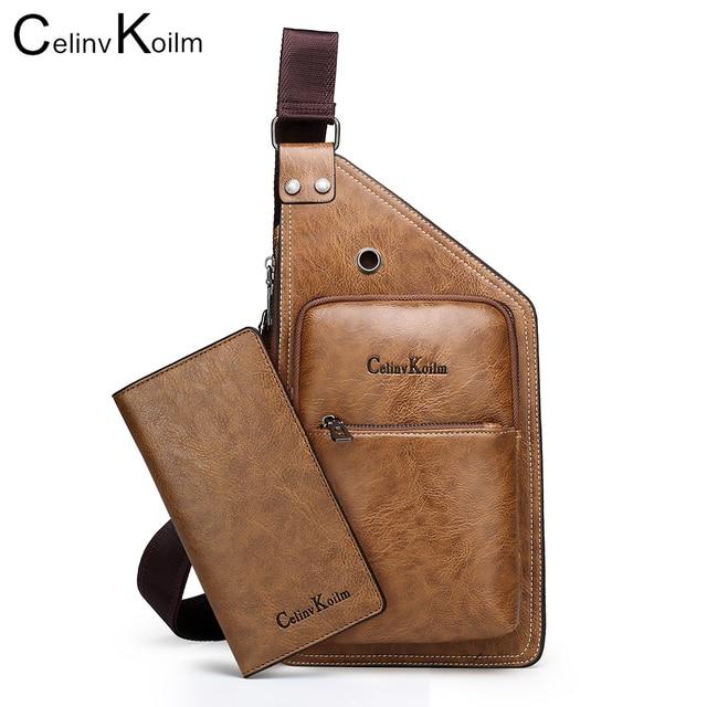 Celinv Koilm-sac à bandoulière cuir homme, marque célèbre, de mode Simple voyage poitrine, sacoche pour jeunes
