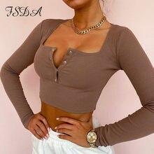 FSDA kwadratowy dekolt 2021 z długim rękawem krótki Top kobiety biały dzianiny dorywczo jesień zima podstawowe T Shirt seksowna bluzka koszule damskie