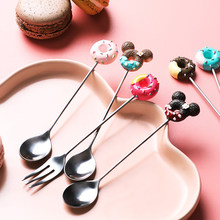 Candy Color Creative Cartoon Spoon and Fork Stainless Steel With Long Handle For Coffee/Tea/Cake/Snack Kitchen Tableware Kid(China)