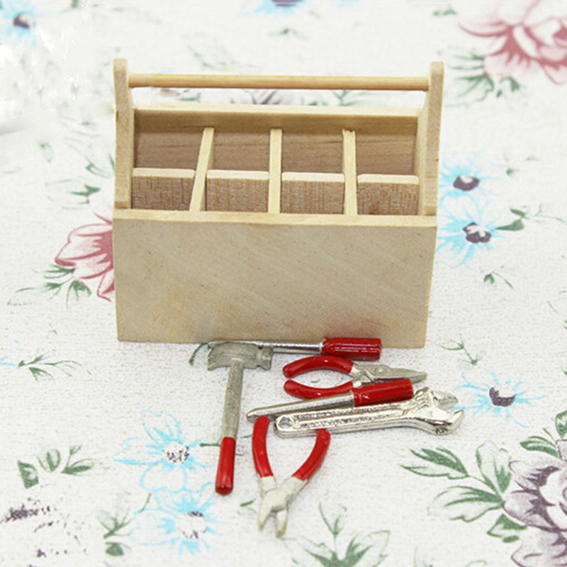 1/12 Scale Miniature Dollhouse Wooden Toolkit Toolbox Furniture Toy Set Life Scenes Dolls Accessories Decor Model Toys