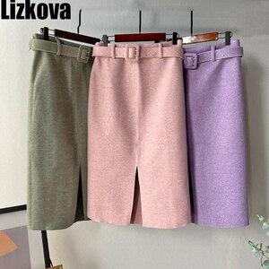 Image 1 - Lizkova ורוד עיפרון חצאית חורף 2020 נשים גבוהה מותן פיצול Faldas עם חגורת אלגנטי רשמי גבירותיי Jupes 2810