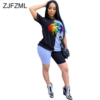 Plus Size Casual 2 Piece Matching Sets Women Lips Print Slim Fit T Shirt Skinny Short Summer Color Block Sportswear Slim Outfit
