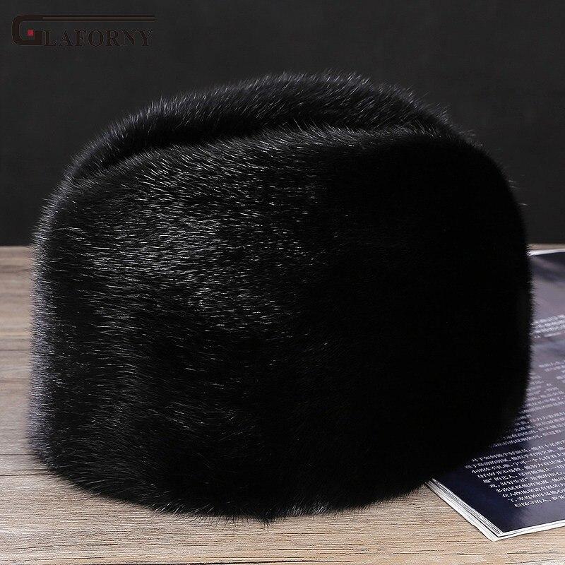 Hat Cotton-Cap Warm Winter Solid Glaforny Men Fur Landlord Mink-Fur Whole Elderly Middle-Aged