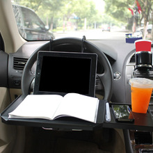 Car Steering Wheel Back Seat Tray Food Drink Holder Built-in