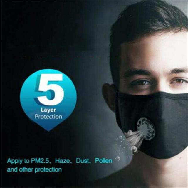 PM2.5 Mask Filter Towel Unisex Cotton Breath Valve PM2.5 Mouth Mask Anti-Dust Mask Activated Carbon Filter Respirator 2