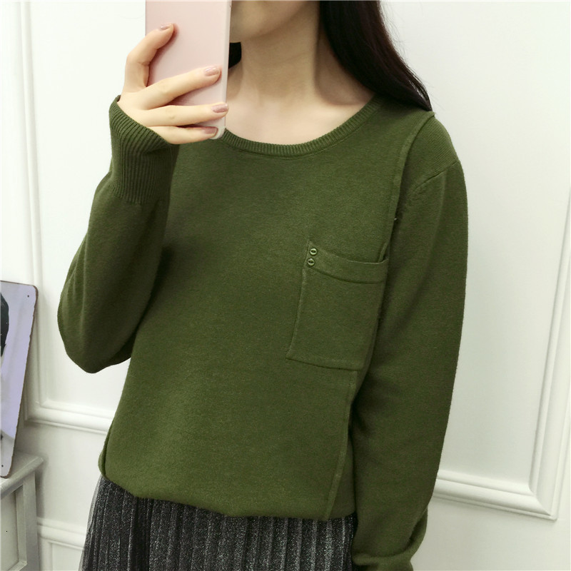 Pocket Solid Slim Wool Knitted Sweater Pullover Pull Femme O-Neck Sweet Jumper Soft Women Fall Sueter Mujer Winter Long Sleeve
