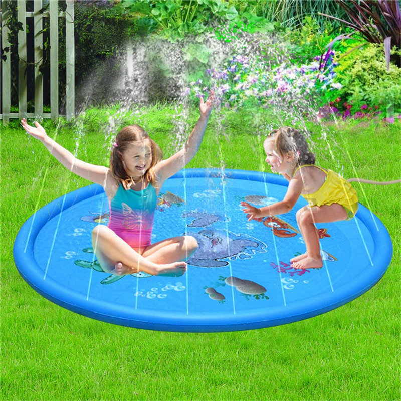 170cm Swimming Pool Kids Inflatable Round Water Splash Play Pools Playing Sprinkler Mat Yard Outdoor Fun Multicolour PVC