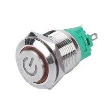 19 мм металлический латунный кнопочный переключатель знак высокой головки освещение кольцо мгновенный самосброс/самоблокирующийся 1NO 1NC