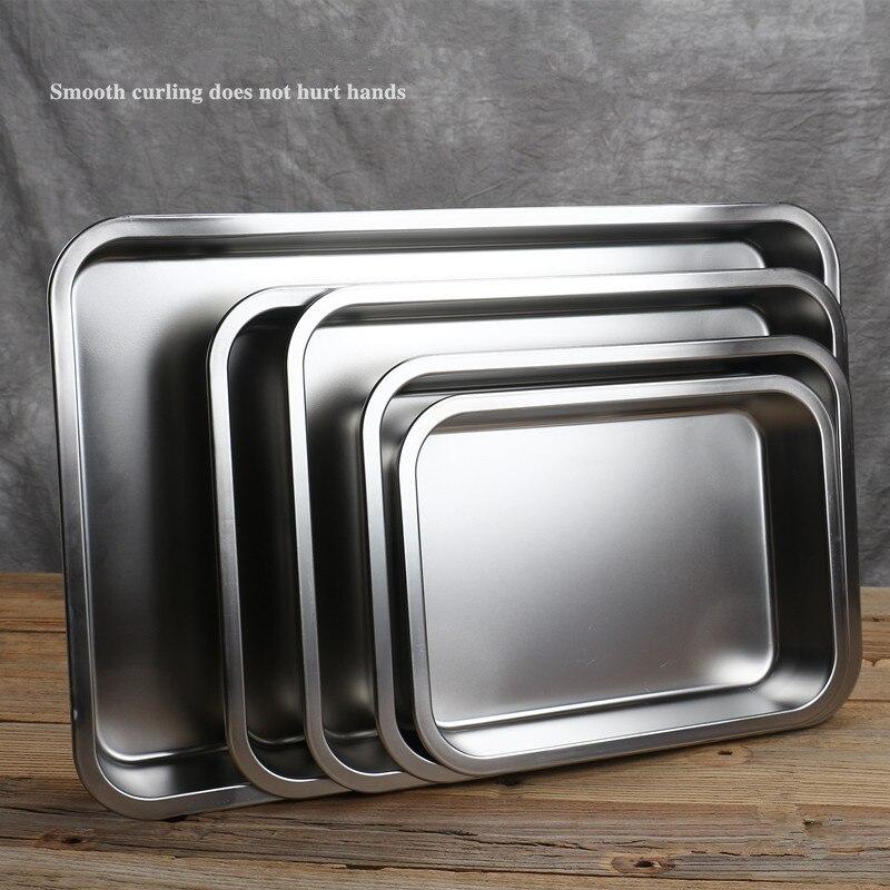 Прямоугольная квадратная раковина из нержавеющей стали 304 с плоским дном и покрытым блюдом, тарелка для буфета, тарелка для еды, жареная тарелка, лоток для хранения барбекю-3