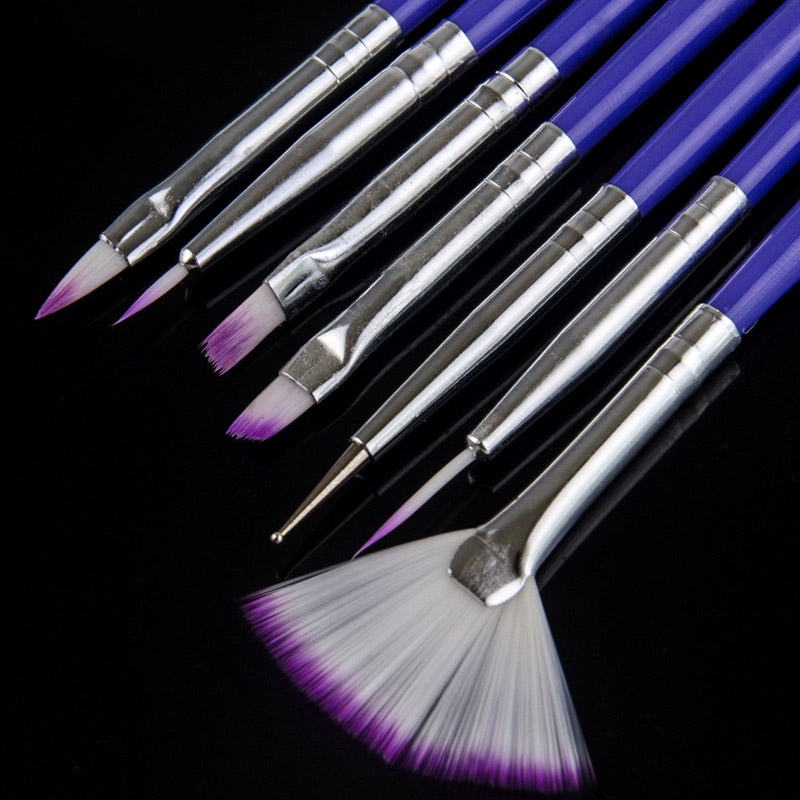 7pcs/set Purple Handle Nylon Paint Brush Different Shape Watercolor Nail Brush Pen For Students Girls School Office Art Supplies